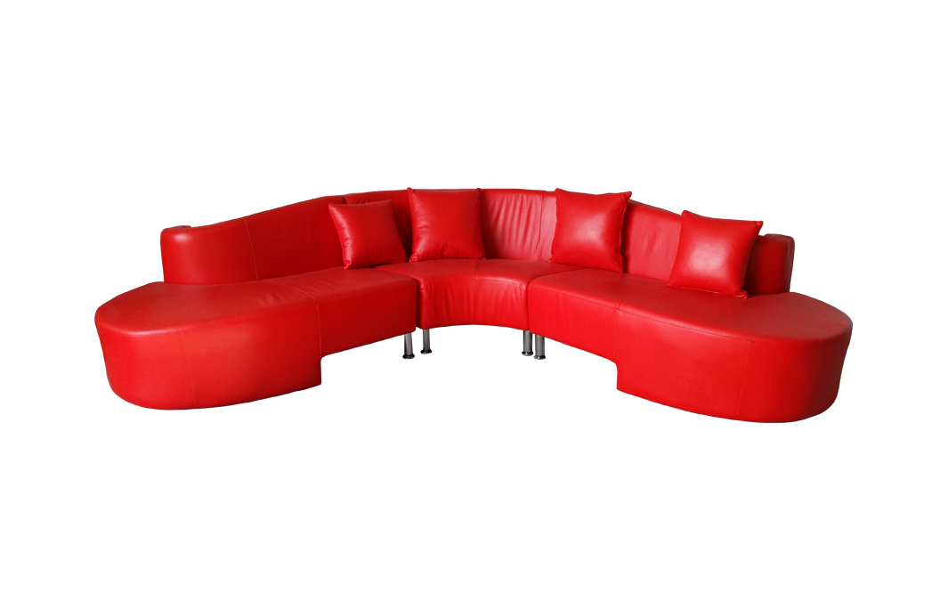 90 design voll leder ecksofa sofa garnitur rundecke rundsofa 153 rot sofort ebay. Black Bedroom Furniture Sets. Home Design Ideas