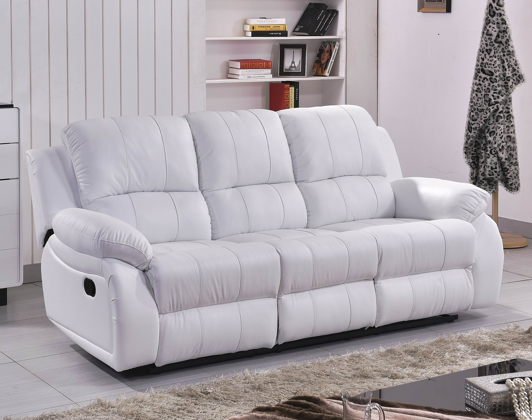 voll leder couch sofa garnitur relaxsessel fernsehsessel 5129 3 2 wei ebay. Black Bedroom Furniture Sets. Home Design Ideas