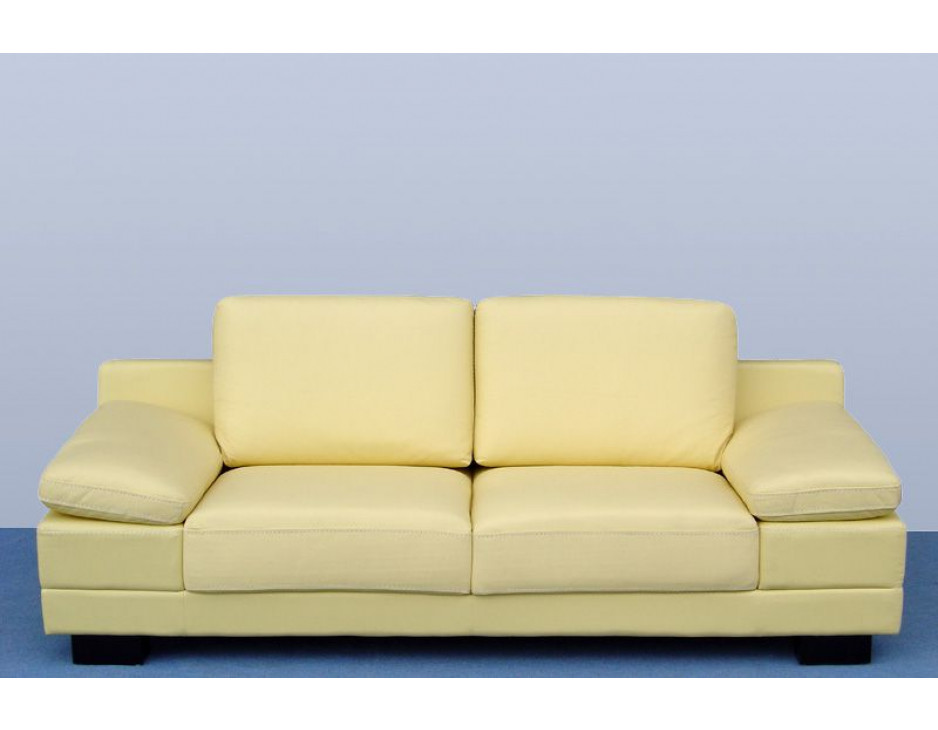 Ledercouch Beige/Gelb 402-3-Be frontal