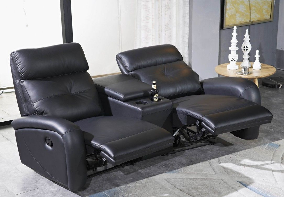 2 er kino sofa leder in schwarz mapo m bel. Black Bedroom Furniture Sets. Home Design Ideas
