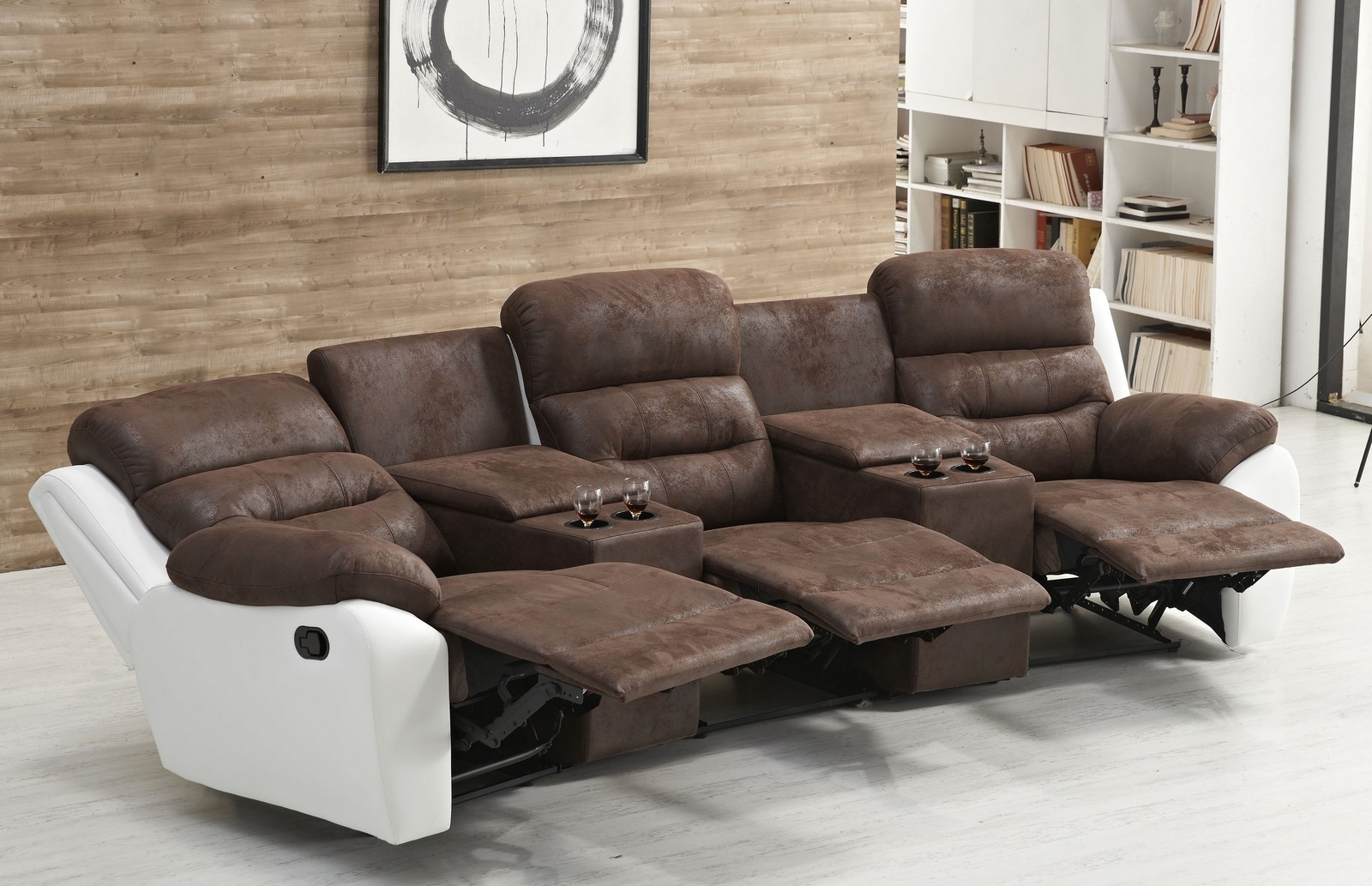 3 er kino sofa mikrofaser in braun wei mapo m bel. Black Bedroom Furniture Sets. Home Design Ideas