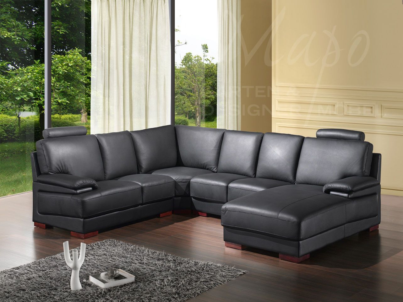 ecksofas schwarz mit federkern 5137 rs mapo m bel. Black Bedroom Furniture Sets. Home Design Ideas