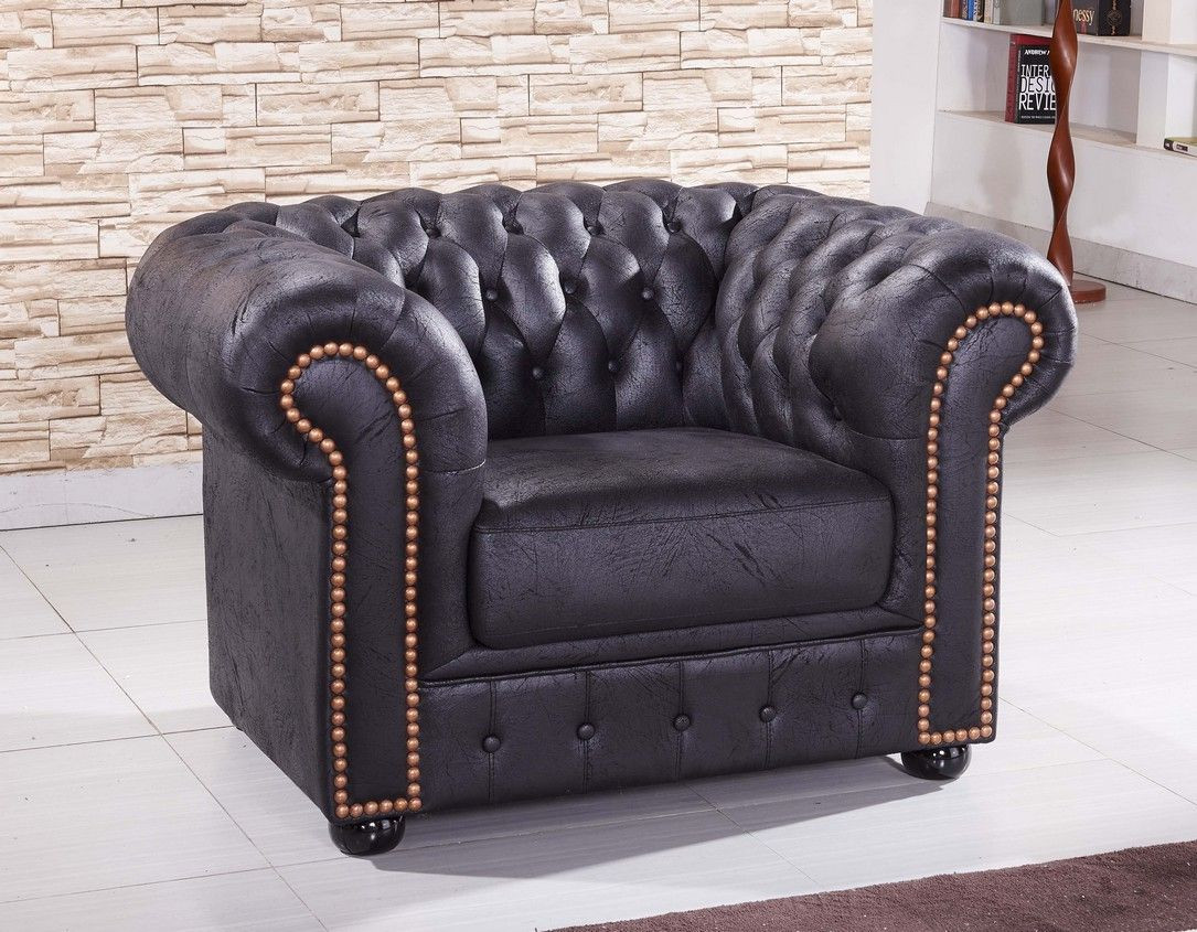 Mikrofaser Sessel Chesterfield In Schwarz Mapo Möbel