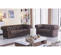 braune Mikrofaser Sofagarnitur Chesterfield-3+2-VF03 sofort