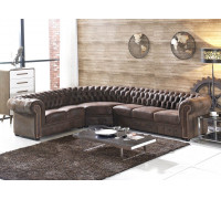 braunes Mikrofaser Sofa Chesterfield-R-VF03 sofort
