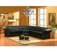 Schwarze Eckgarnitur Chesterfield-RS