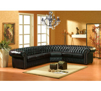 Schwarze Eckgarnitur Chesterfield-LS