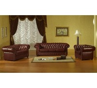 Braune Leder-Sofagarnitur Chesterfield-3+2+1-3023
