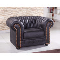 schwarze Mikrofaser Sofagarnitur Chesterfield-3+1-MS