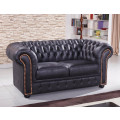 schwarze Mikrofaser Sofagarnitur Chesterfield-3+2-MS