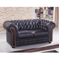 schwarze Mikrofaser Sofagarnitur Chesterfield-2+1-MS