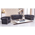 schwarze Mikrofaser Sofagarnitur Chesterfield-3+2+1-MS