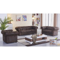 braune Mikrofaser Sofagarnitur Chesterfield-3+2+1-VF03 sofort
