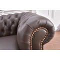 Braune Leder-Sofagarnitur Chesterfield-3+2+1-377